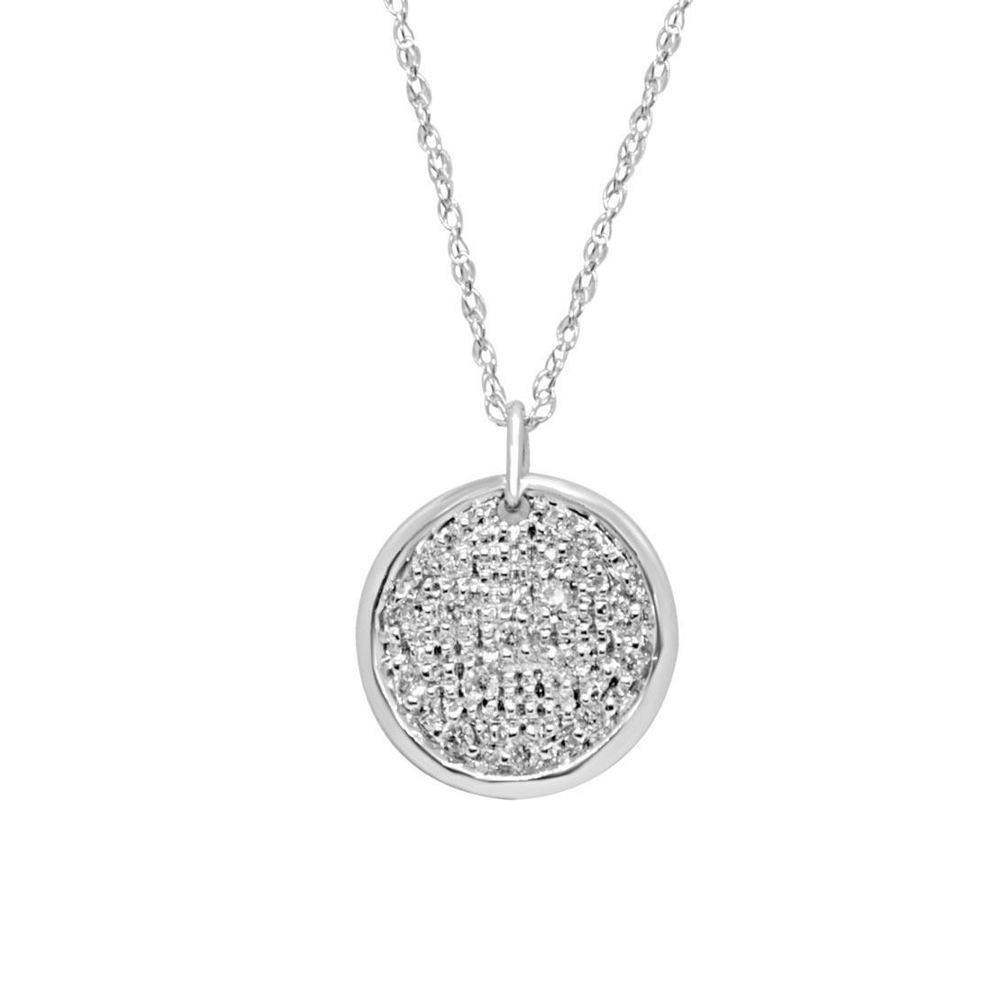 Collana con pendente in oro bianco con diamanti ct 0.10 - ALFIERI & ST. JOHN