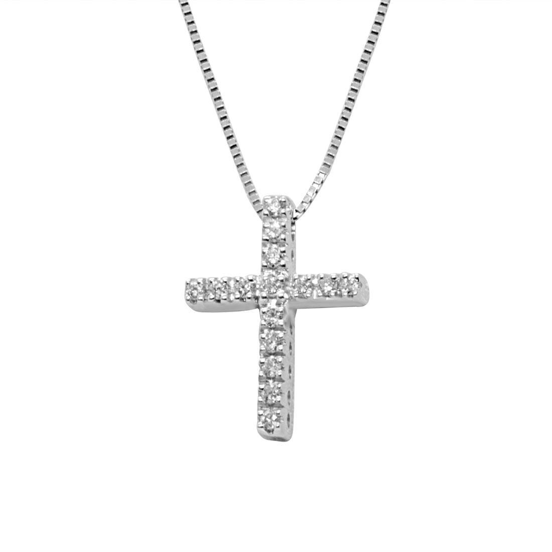 Collana in oro bianco con croce 0,11 ct - ALFIERI ST JOHN