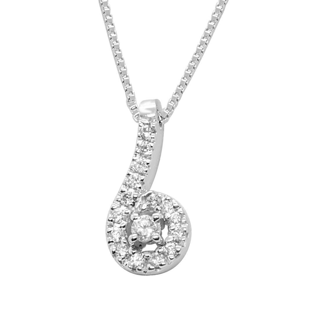 Collana in oro bianco, pendente design con diamanti - ALFIERI ST JOHN