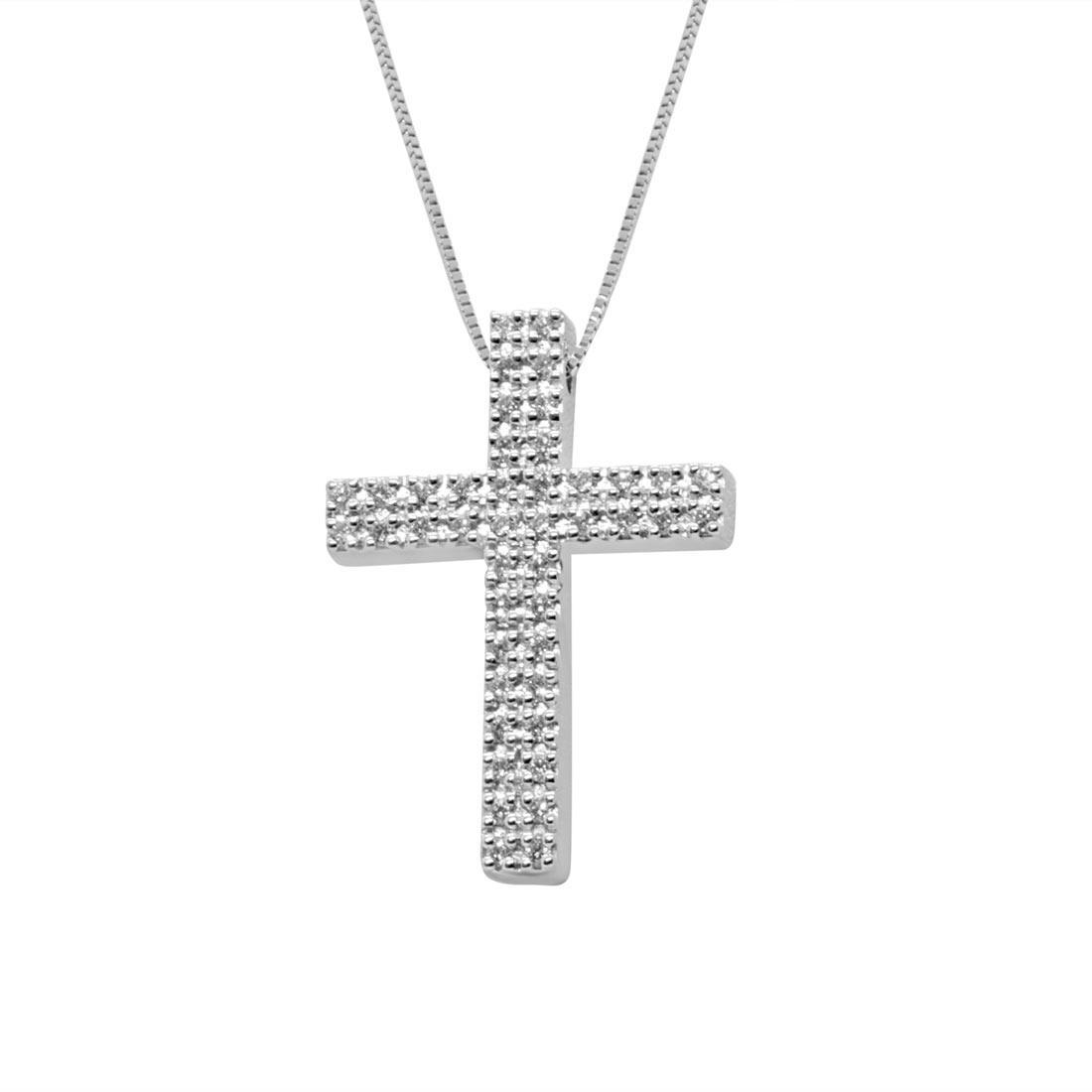 Collana in oro bianco con croce di diamanti 0,37 ct - ALFIERI ST JOHN