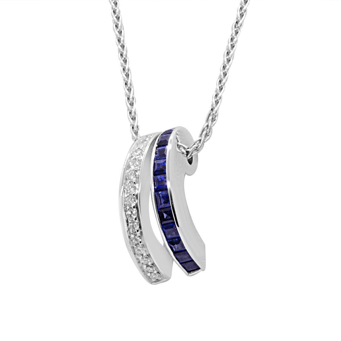 Collana in oro bianco con diamanti e zaffiri - ALFIERI ST JOHN