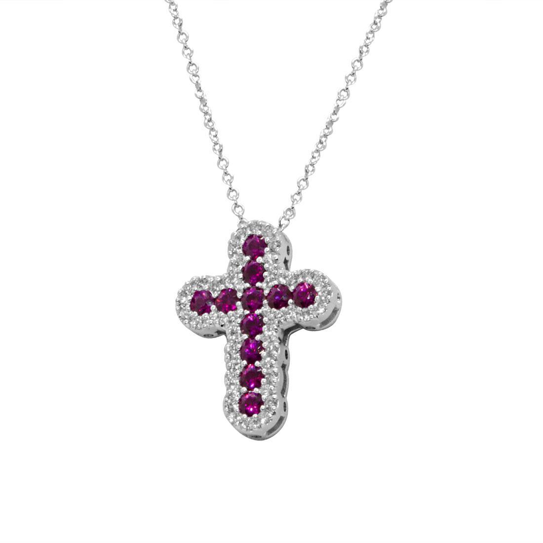 Collana in oro bianco con croce di diamanti e rubini - ALFIERI & ST. JOHN