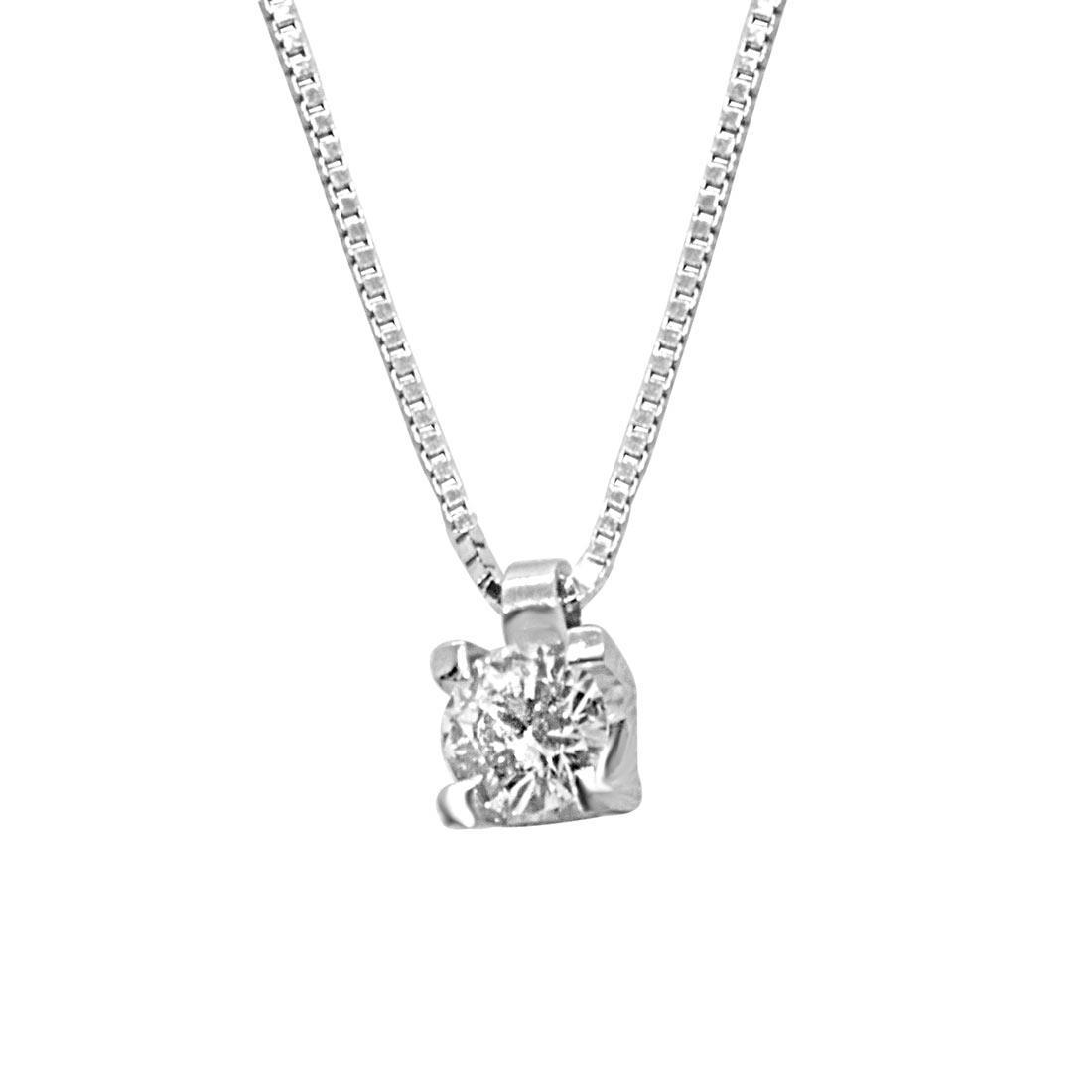 Collana punto luce in oro bianco con diamante 0.18 ct - ALFIERI ST JOHN