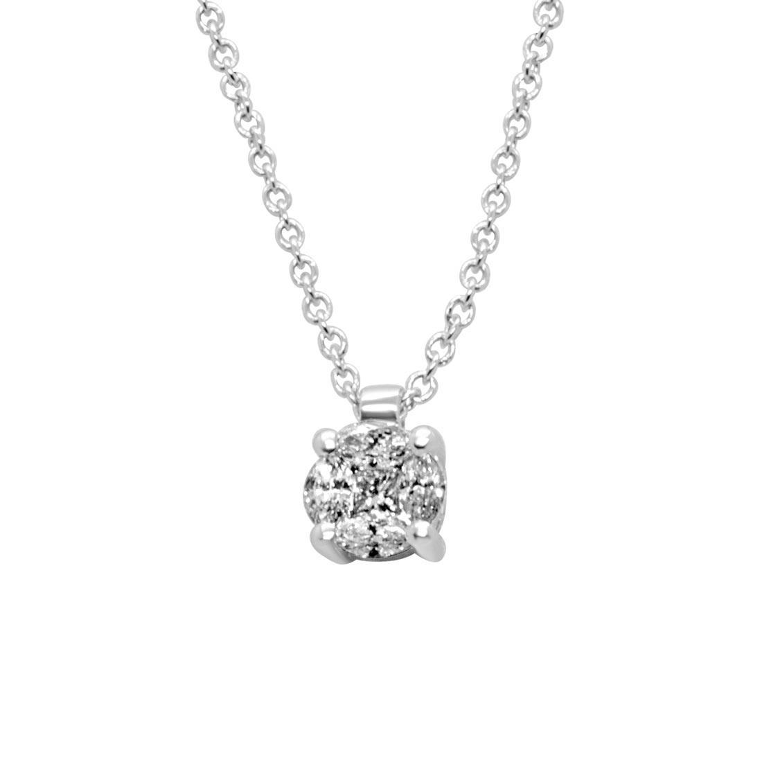 Collana punto luce in oro bianco con diamante 0,16 ct - ALFIERI ST JOHN