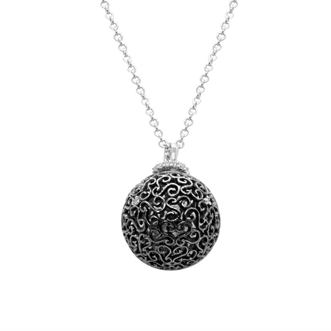 Collana in oro bianco, pendente a sfera con diamanti  - ALFIERI & ST. JOHN