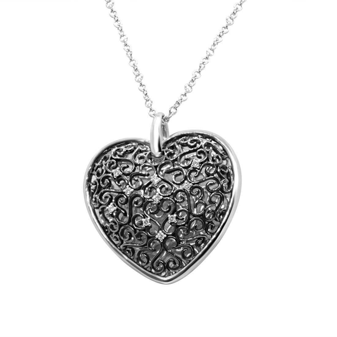 Collana in oro bianco, pendente a cuore con diamanti  - ALFIERI ST JOHN