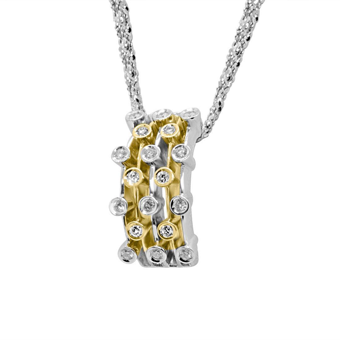 Collier in oro bianco con pendente design in oro bianco, giallo e diamanti - ALFIERI ST JOHN
