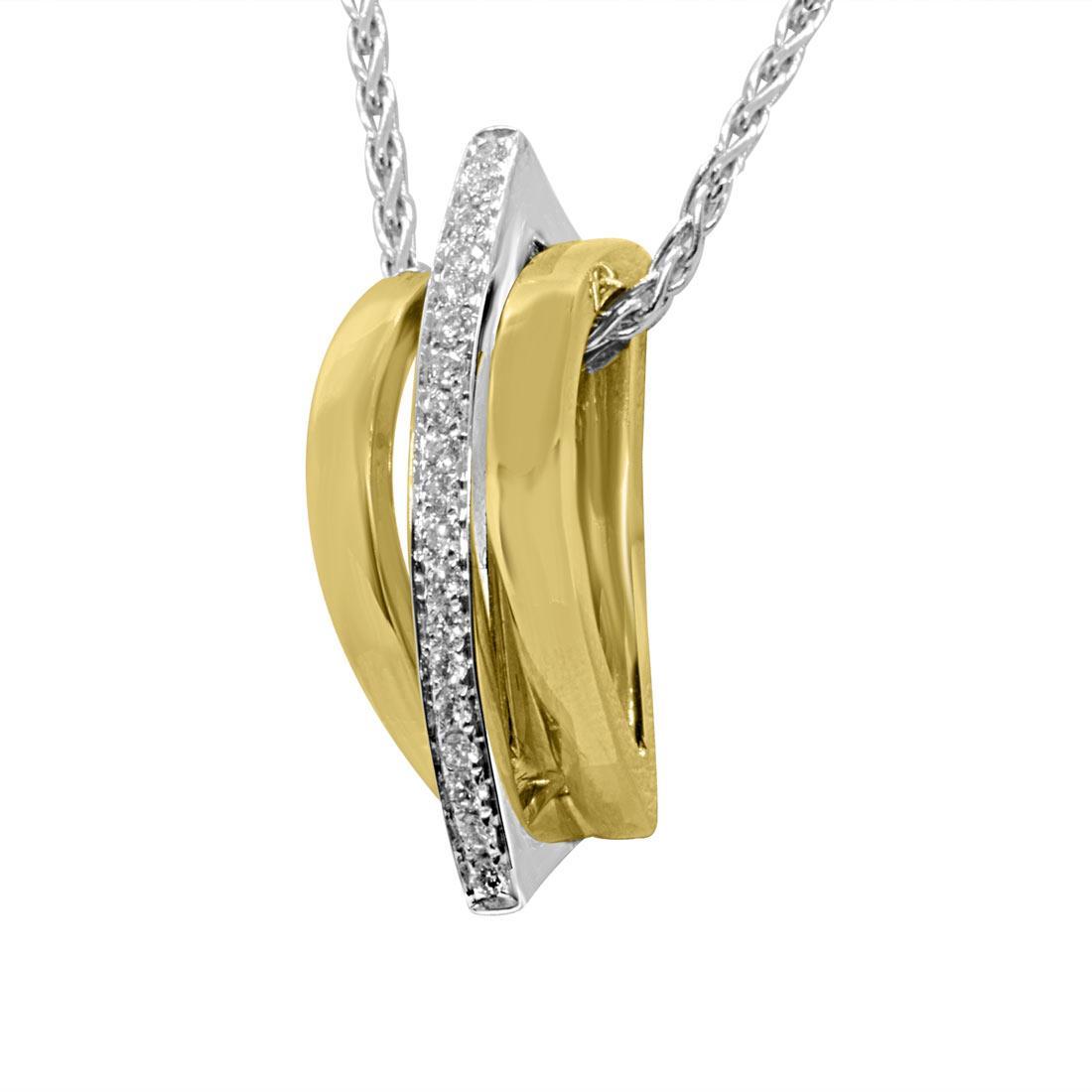 Collana in oro bianco con pendete design in oro bianco, oro giallo e diamanti - ALFIERI & ST. JOHN