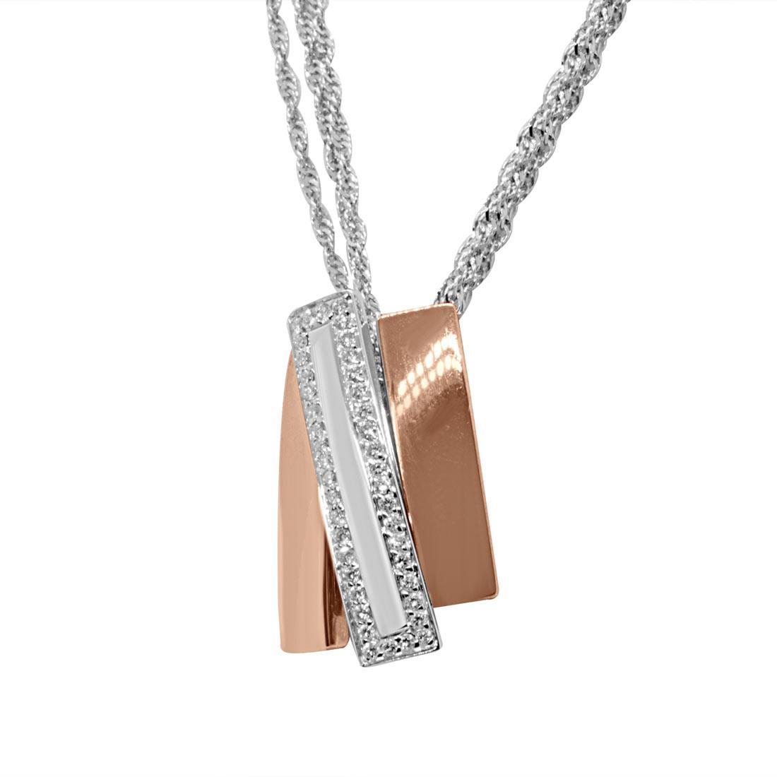 Collana in oro bianco e rosa con diamanti 0,17 ct - ALFIERI & ST. JOHN