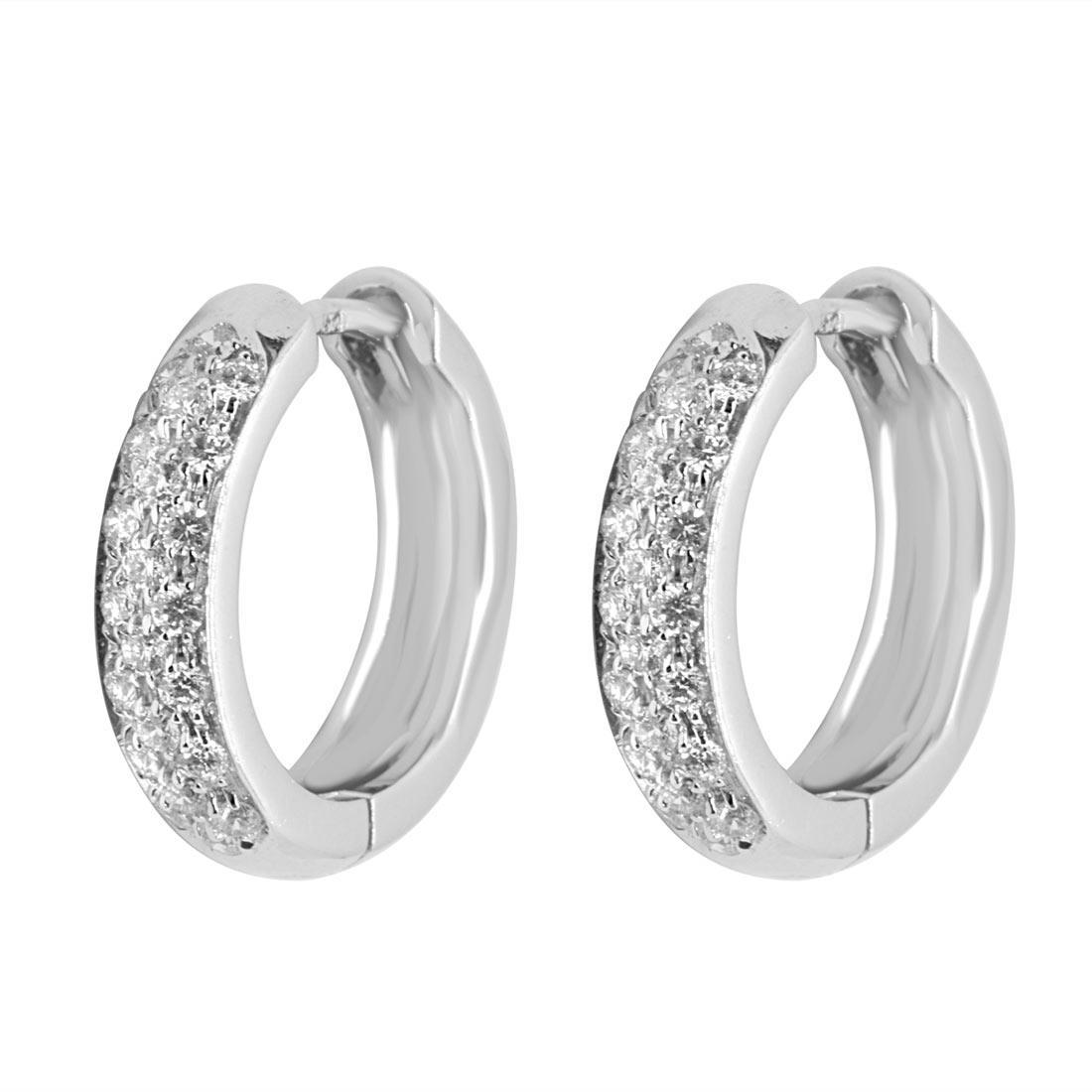 Orecchini a cerchio in oro bianco con diamanti 0,56 ct - ALFIERI & ST. JOHN