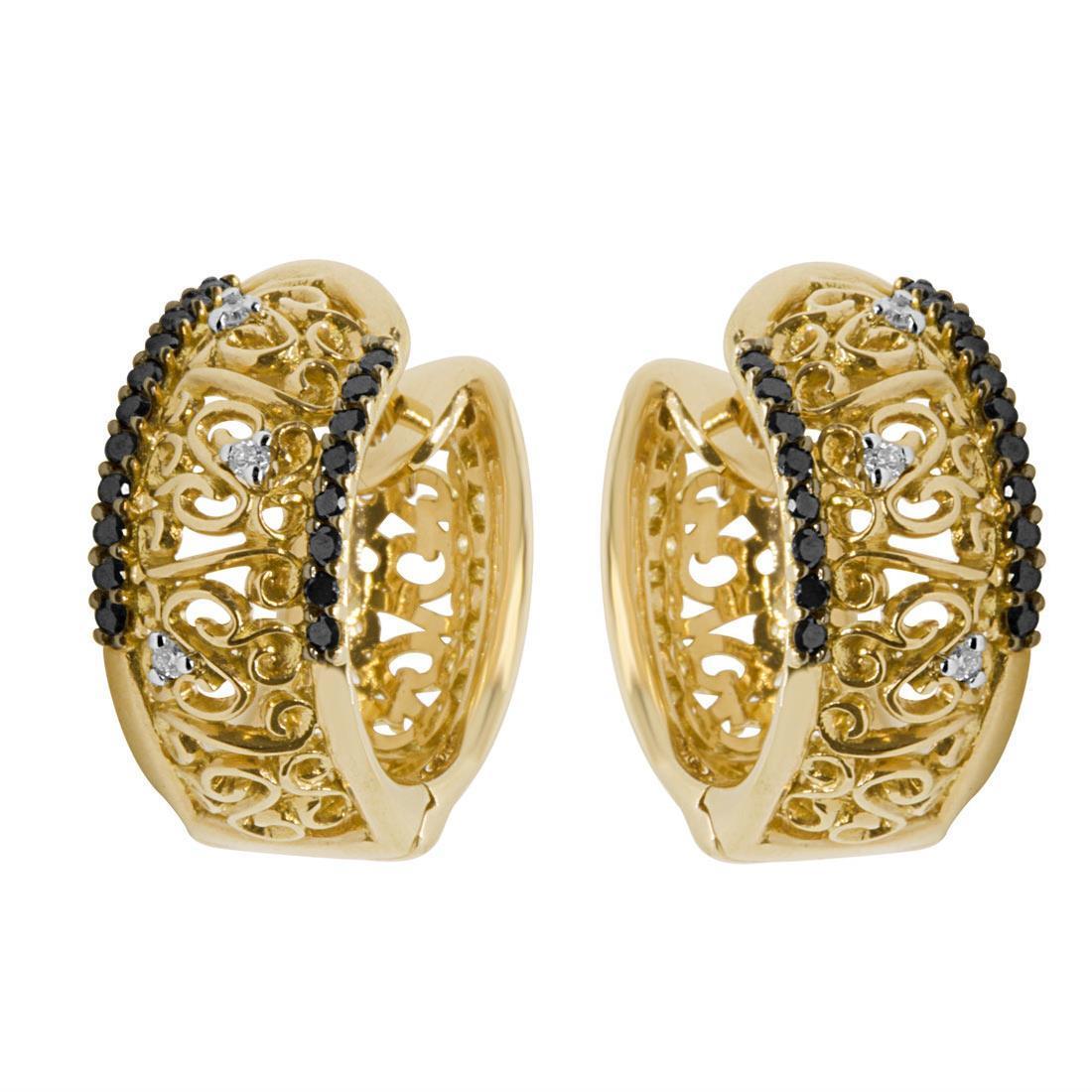Orecchini a cerchio in oro giallo con diamanti bianchi e neri - ALFIERI ST JOHN
