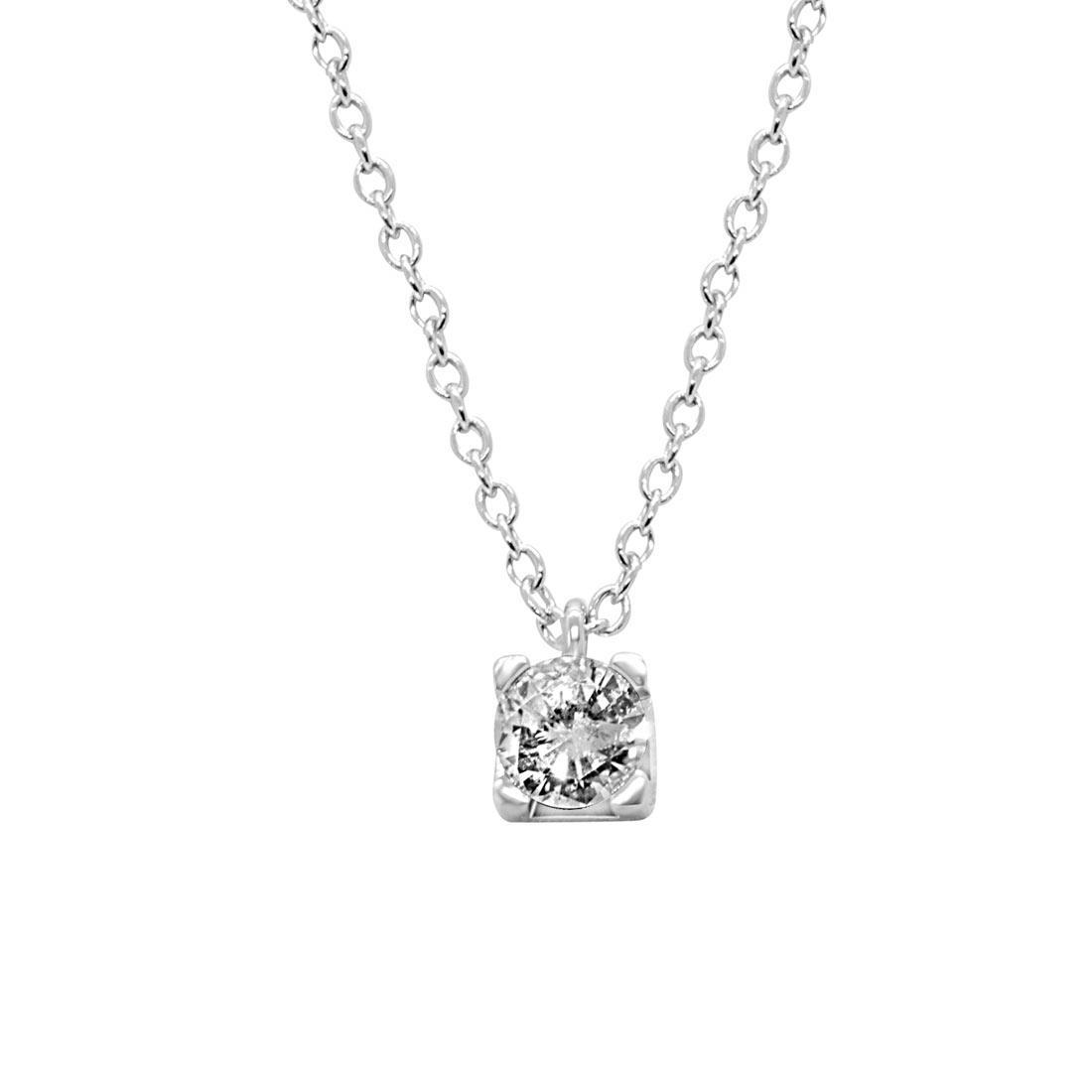 Collier punto luce in oro bianco con diamante 0,81 ct - ALFIERI ST JOHN