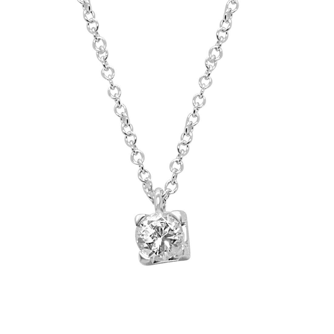 Collier punto luce in oro bianco con diamante 0,54 ct - ALFIERI ST JOHN