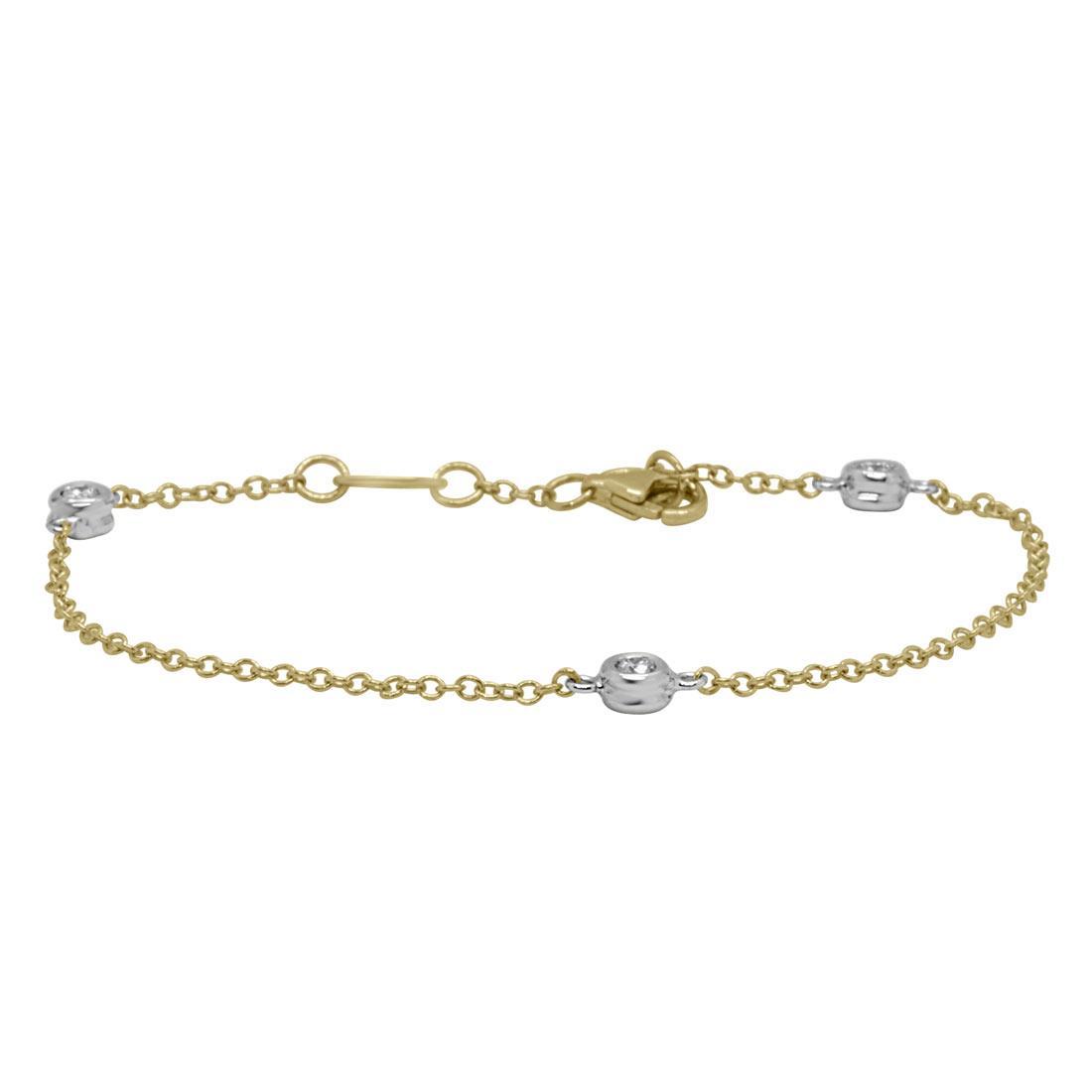 Bracciale in oro giallo e bianco, 3 castoni con diamanti 0.30 ct - ORO&CO