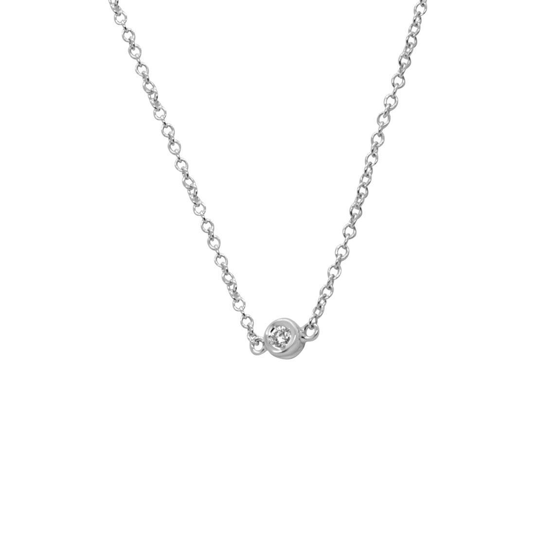 Collier punto luce in oro bianco con diamante 0.10 ct - ORO&CO
