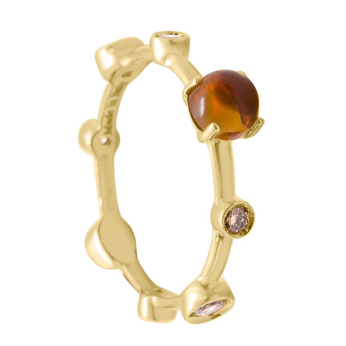 Anello Damiani in oro giallo con pietra semi preziosa e diamanti mis 15 - DAMIANI