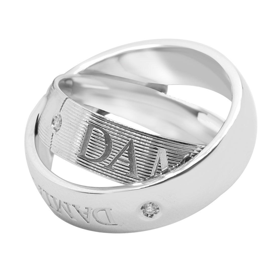 Damiani Fede doppia in oro bianco con diamante ct 0,01 - DAMIANI
