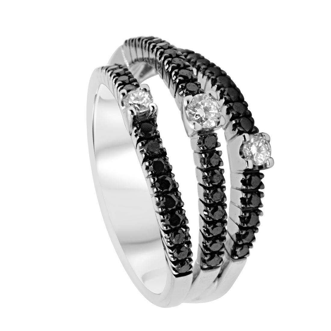 Anello in oro bianco con diamanti neri e bianchi - DAMIANI