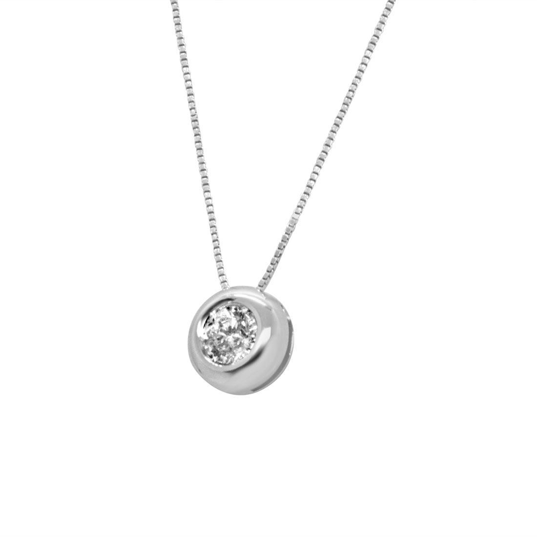 Collana punto luce in oro bianco con diamante 0.20 ct - ORO&CO