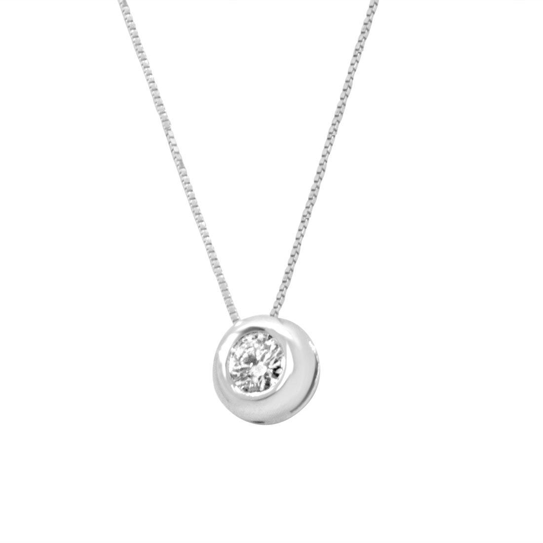 Collana punto luce in oro bianco con diamante 0.15 ct - ORO&CO