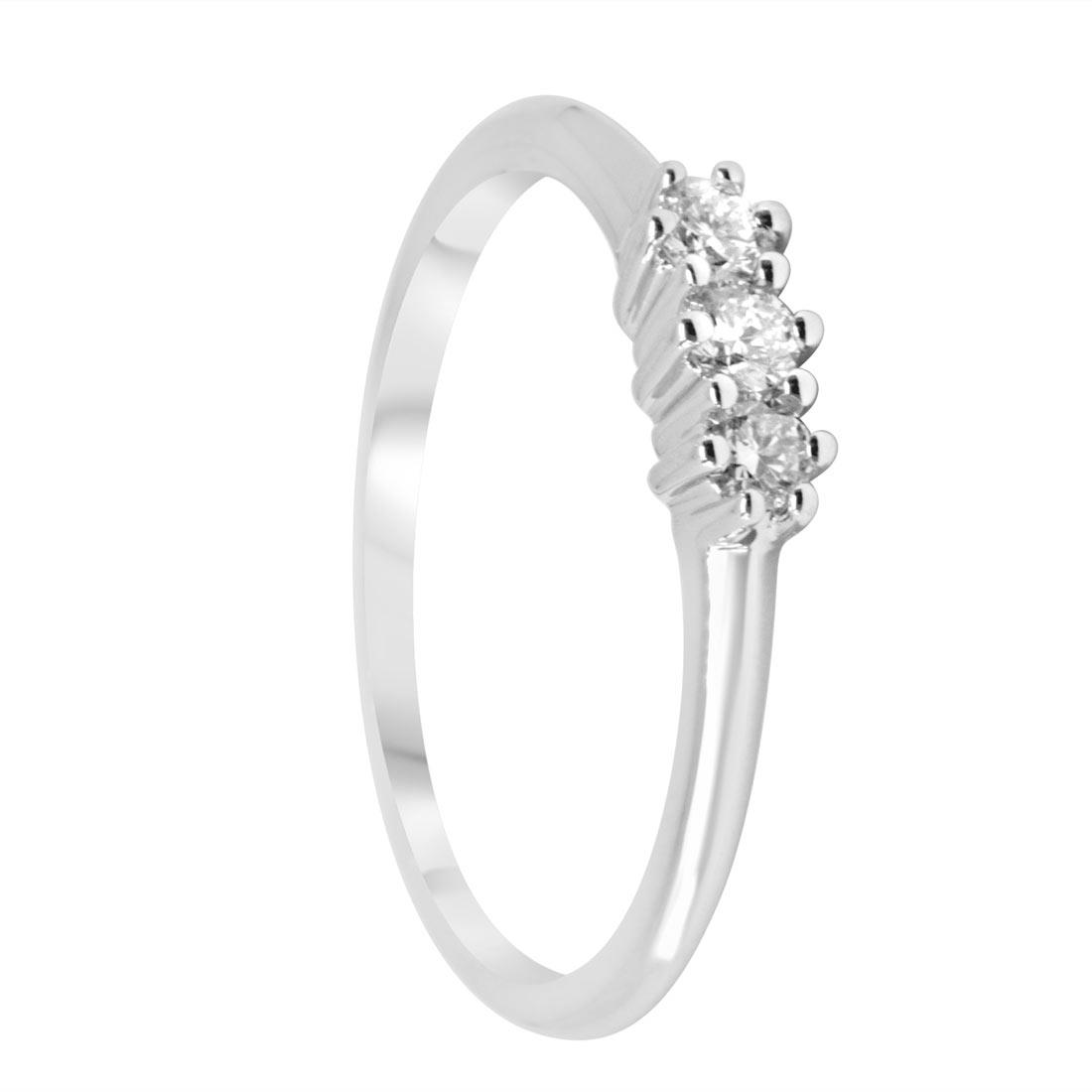 Anello trilogy in oro bianco con diamanti 0,18 ct mis 14 - ORO&CO