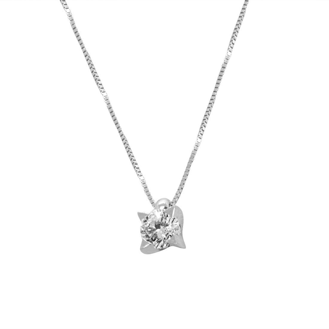 Collana punto luce in oro bianco con diamante 0.05 ct - ORO&CO