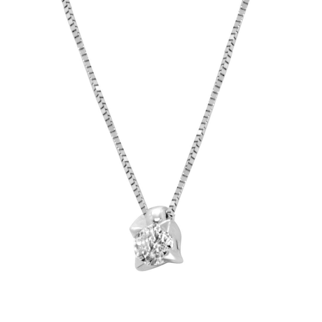 Collana punto luce in oro bianco con diamante 0.10 ct - ORO&CO