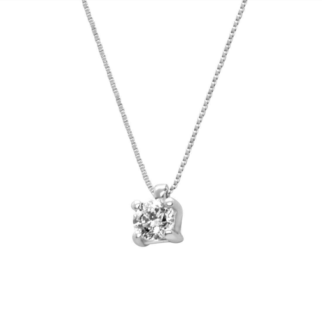 Collier in oro bianco con diamante 0,40 ct - ORO&CO