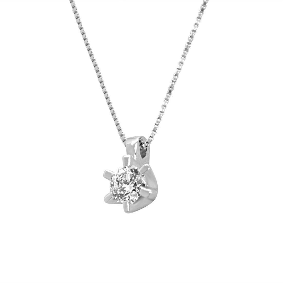 Collier in oro bianco con diamante 0,30 ct - ORO&CO