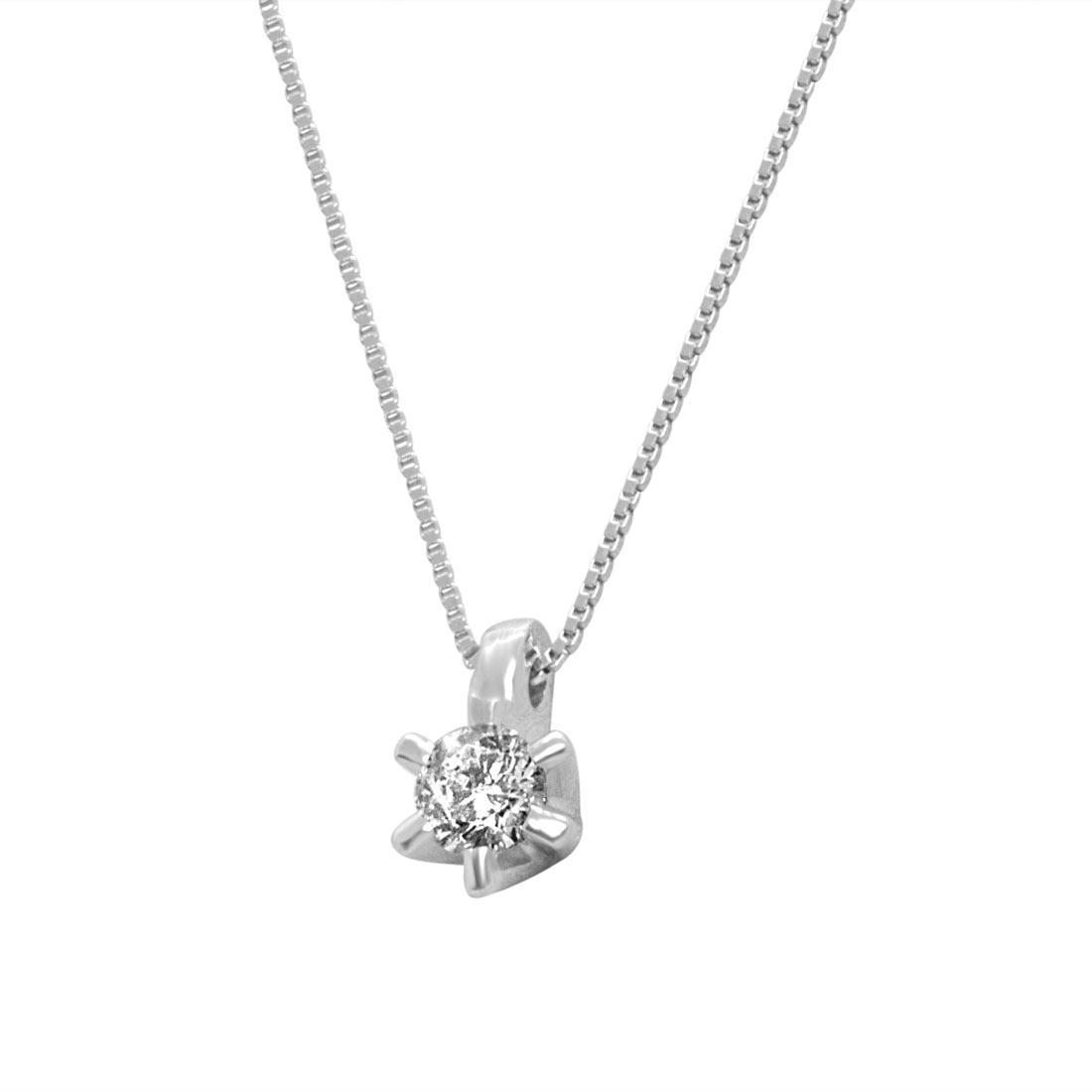 Collier in oro bianco con diamante 0,20 ct - ORO&CO