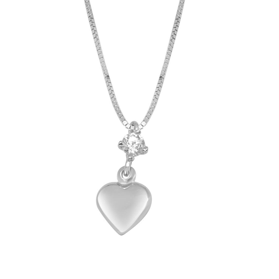 Collana in oro bianco, pendente a cuore con zircone - ORO&CO