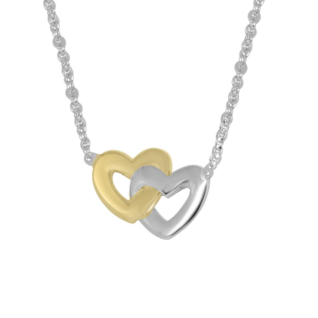 Collana in oro bianco e giallo cuori intrecciati - ORO&CO