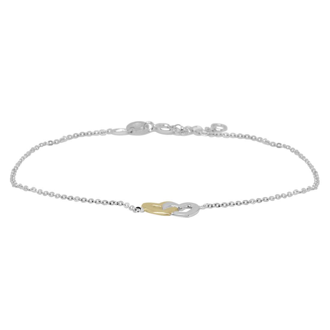 Bracciale in oro bianco e giallo con cuori intrecciati - ORO&CO