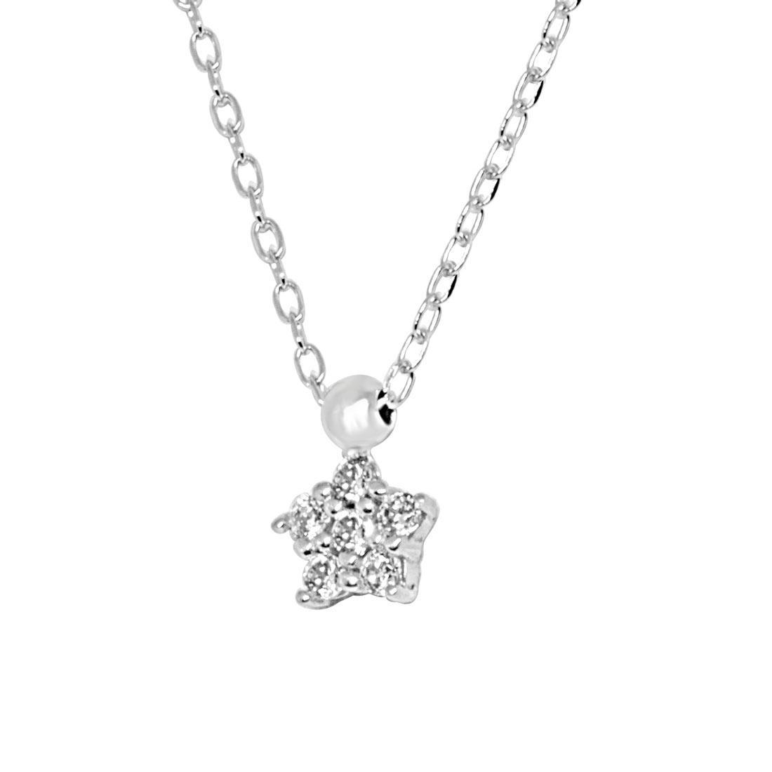 Collana in oro bianco, pendente stella con zirconi - ORO&CO