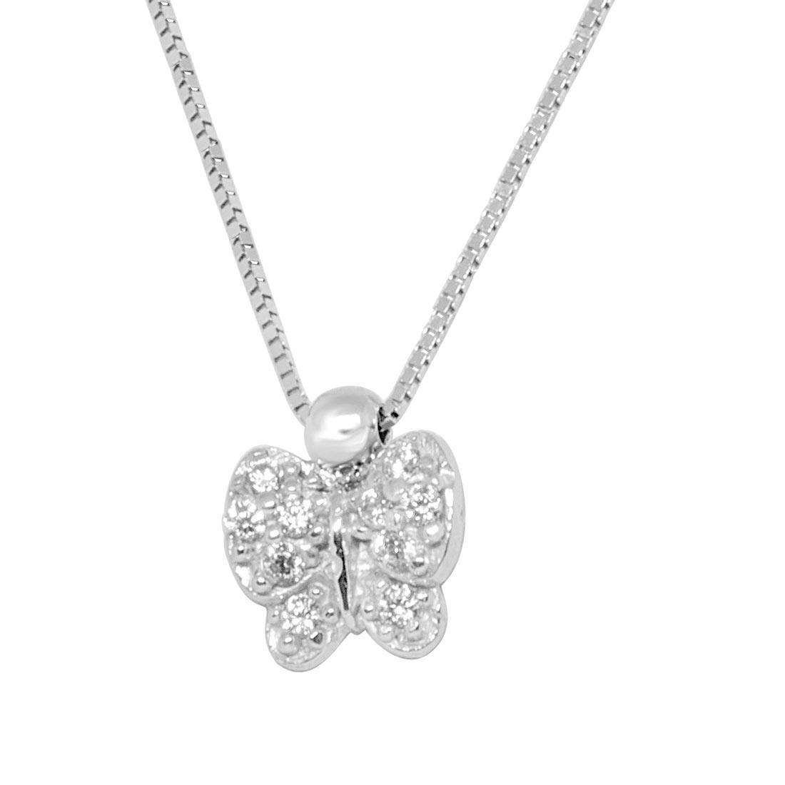 Collana in oro bianco, pendente farfalla con zirconi - ORO&CO
