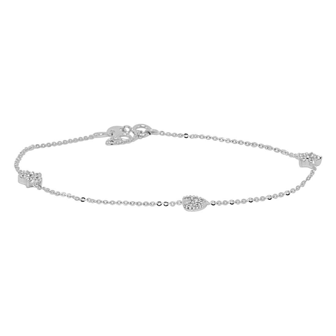 Bracciale in oro bianco, charms con zirconi - ORO&CO