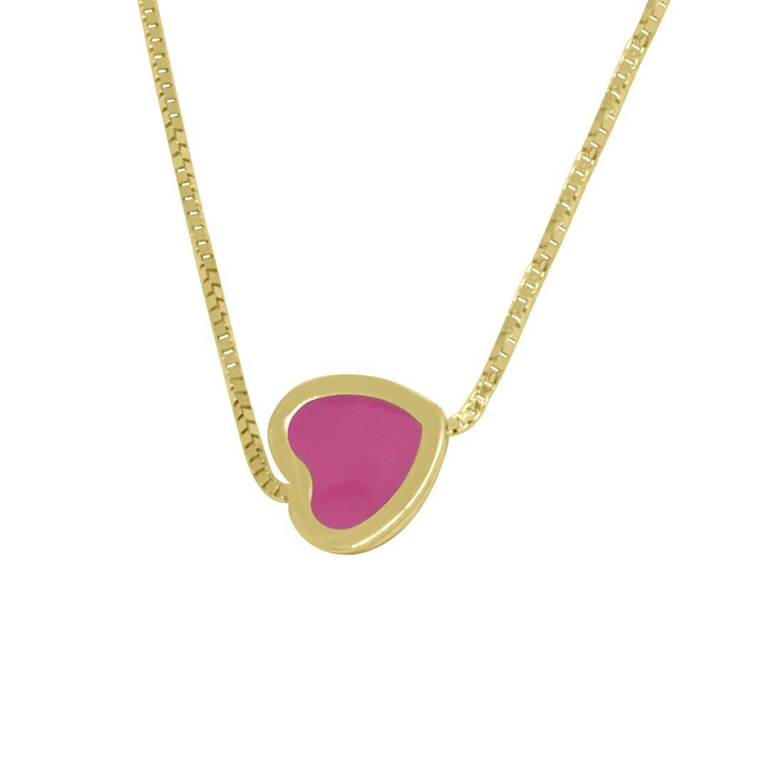 Collana in oro giallo, pendente a cuore con smalto rosa - ORO&CO