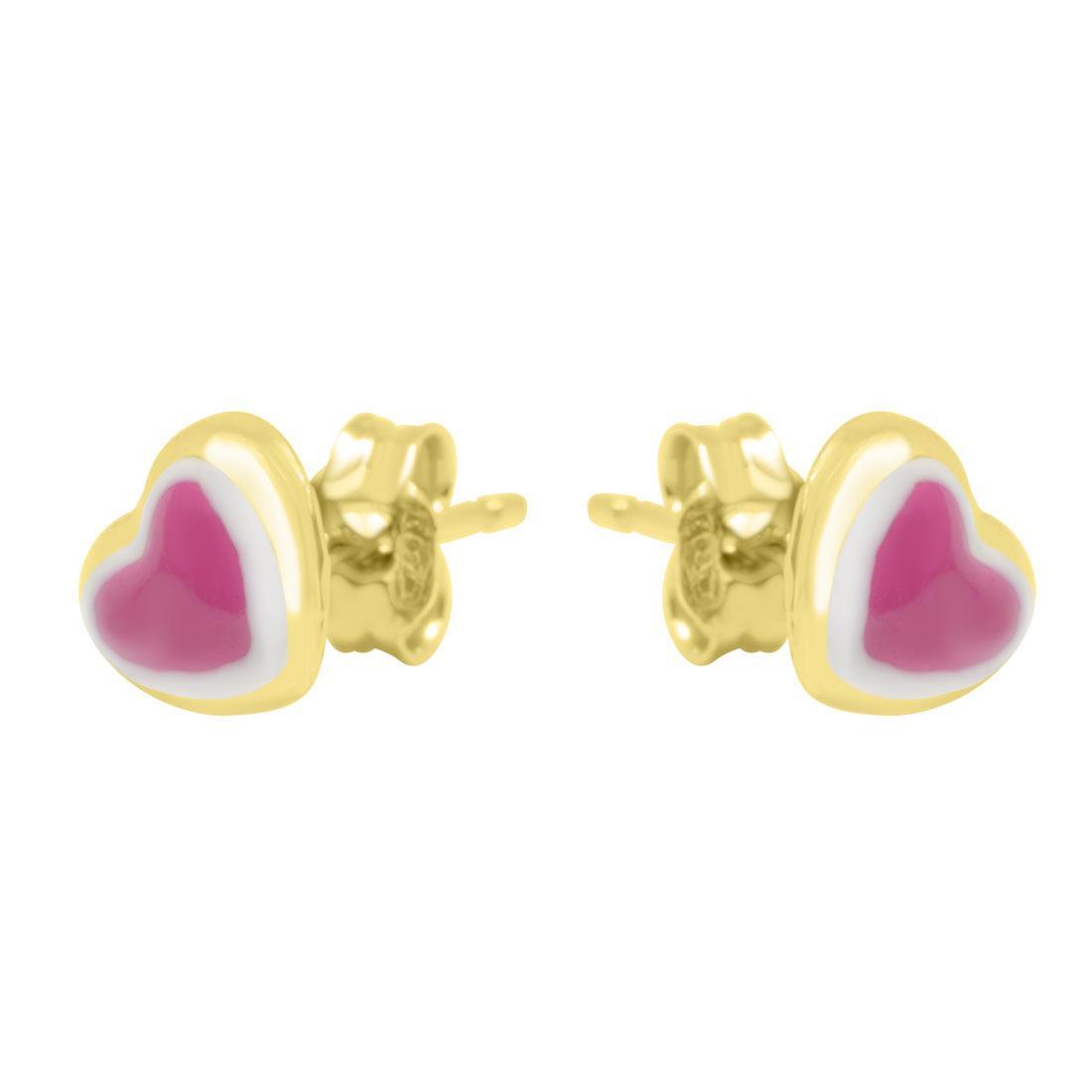 Orecchini in oro giallo cuore con smalto  - ORO&CO