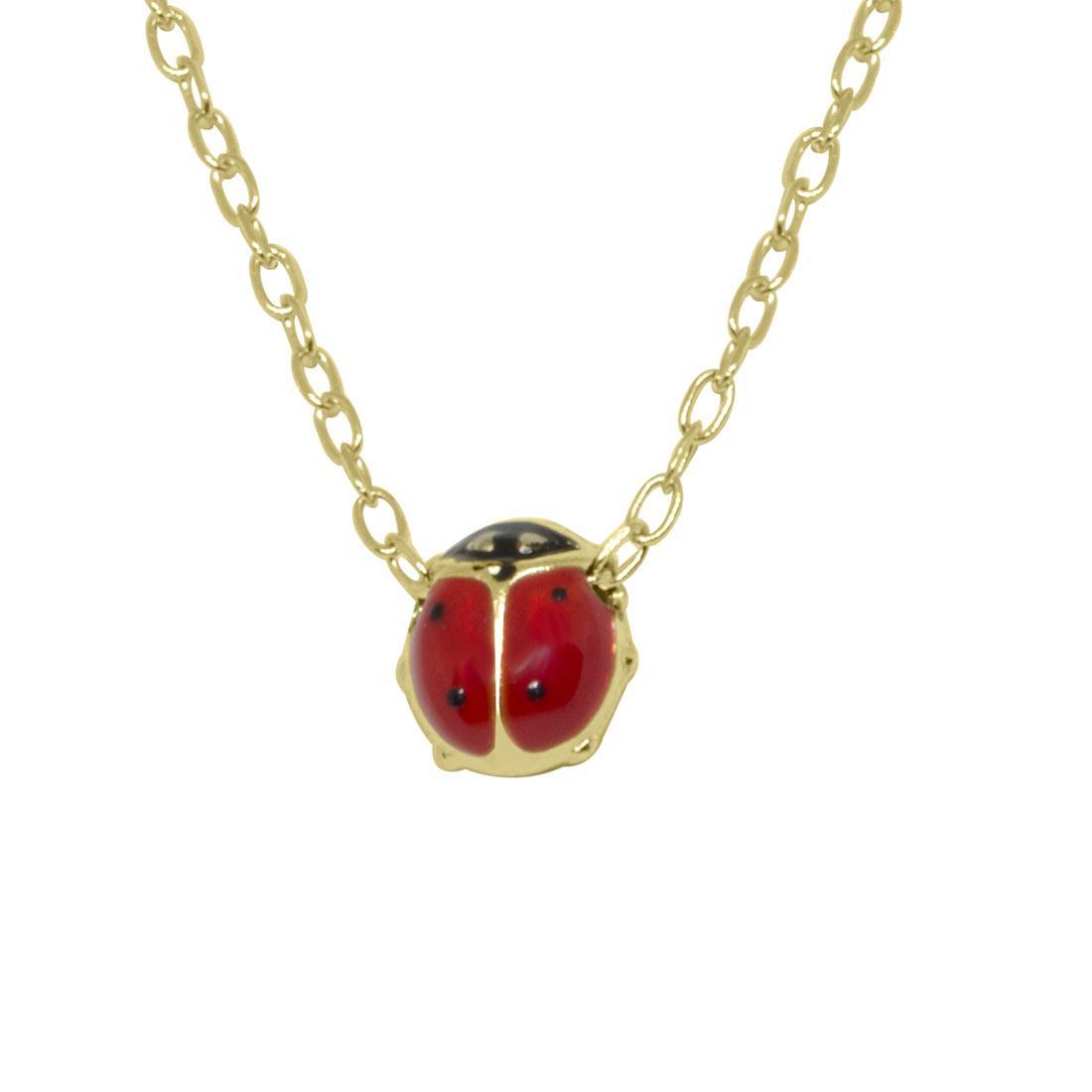 Collana in oro giallo, pendente coccinella piccola - ORO&CO