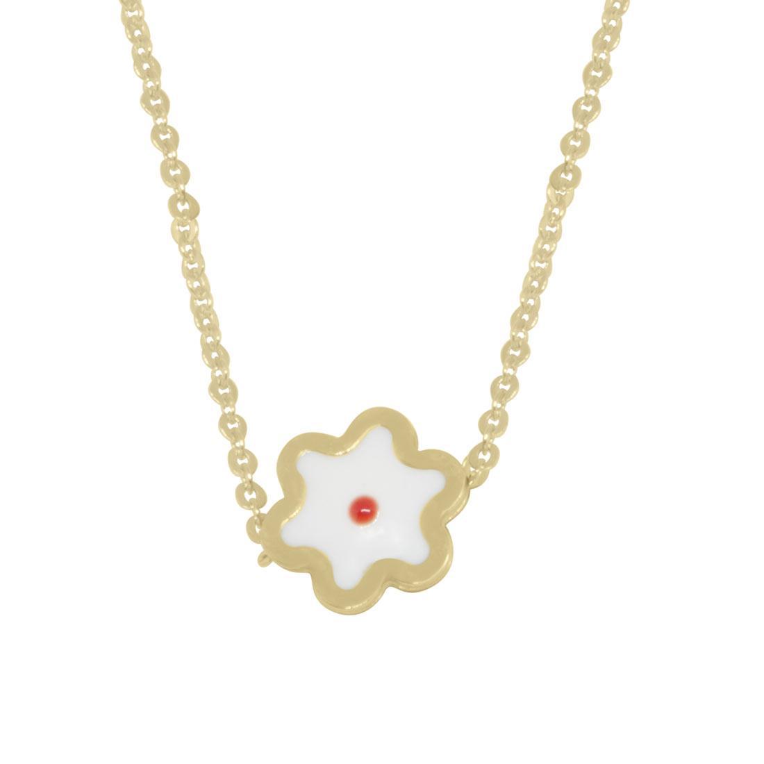 Collana in oro giallo, pendente a fiore con smalto  - ORO&CO