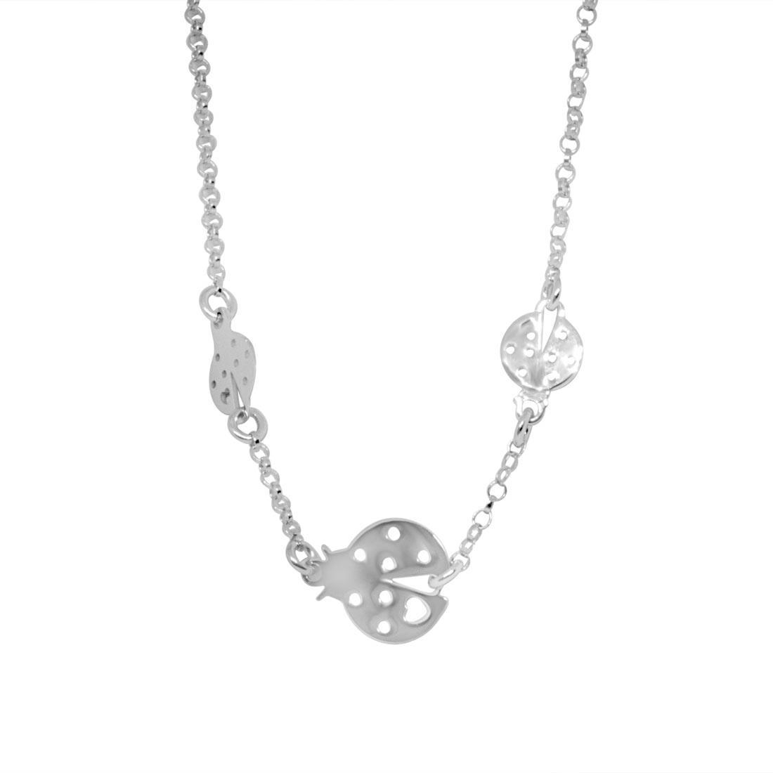 Collana in argento rodiato con coccinelle - ORO&CO