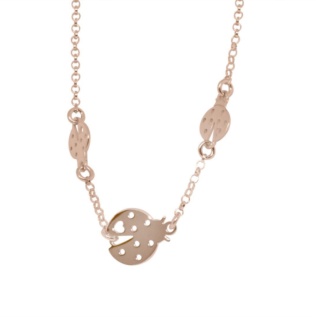 Collana in argento rosato con coccinelle - ORO&CO