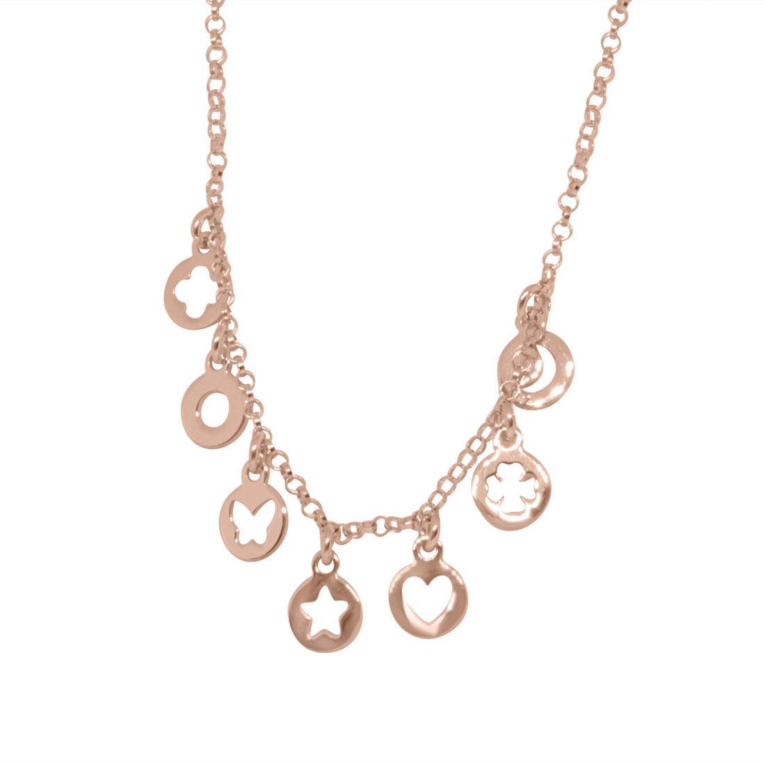 Collana in argento rosato con charms - ORO&CO 925