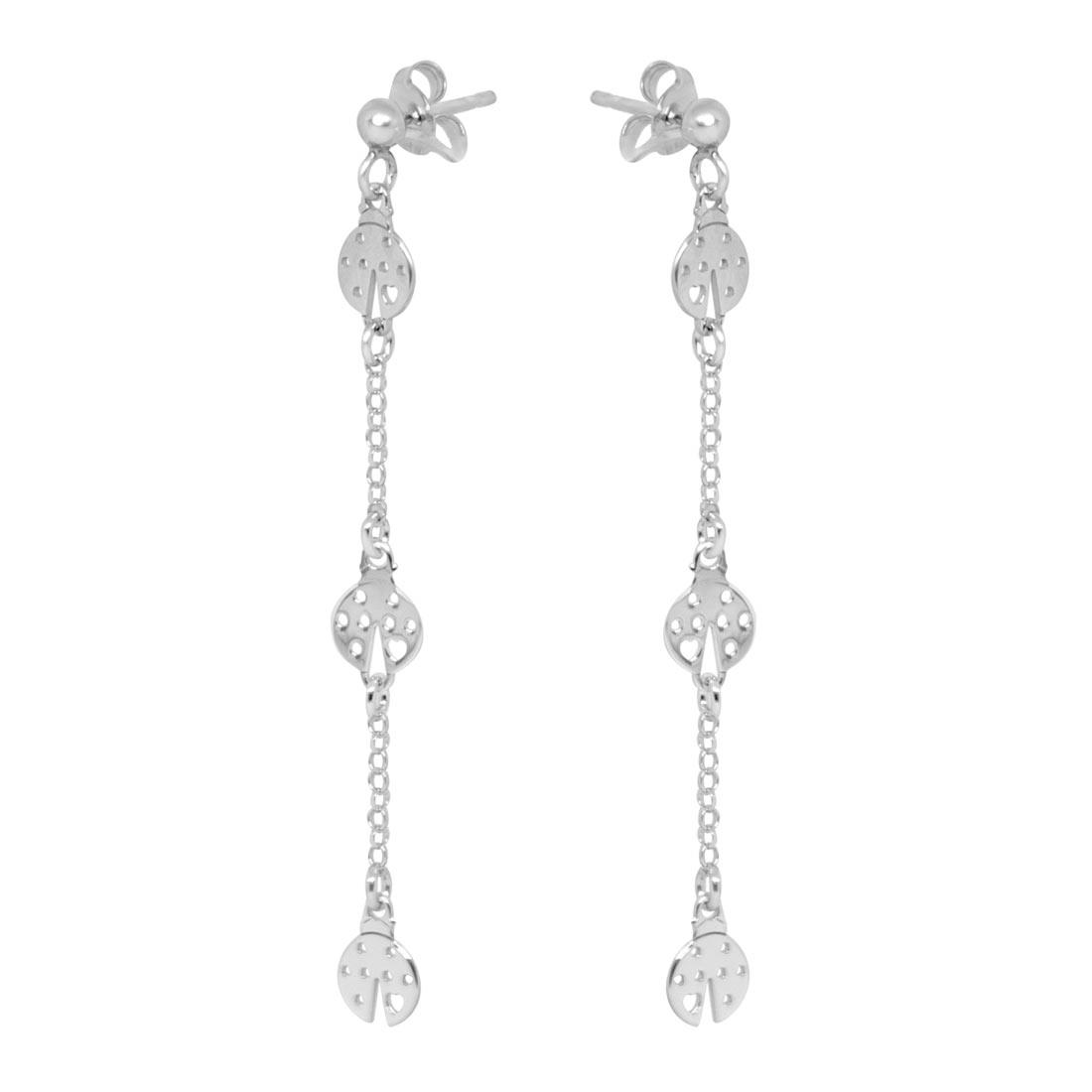 Orecchini pendenti in argento rodiato con coccinelle - ORO&CO 925