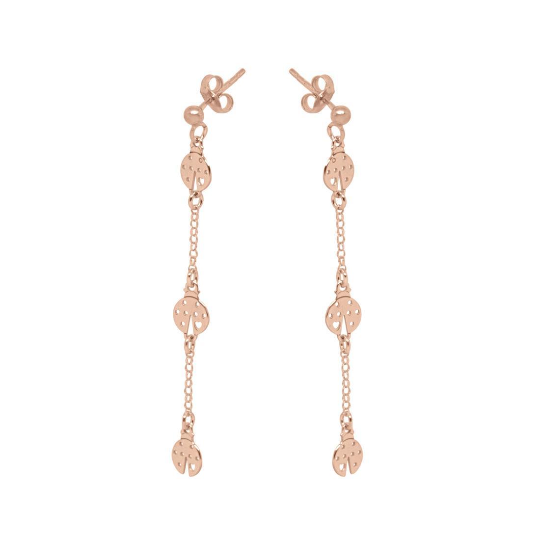 Orecchini pendenti in argento rosato con coccinelle - ORO&CO 925