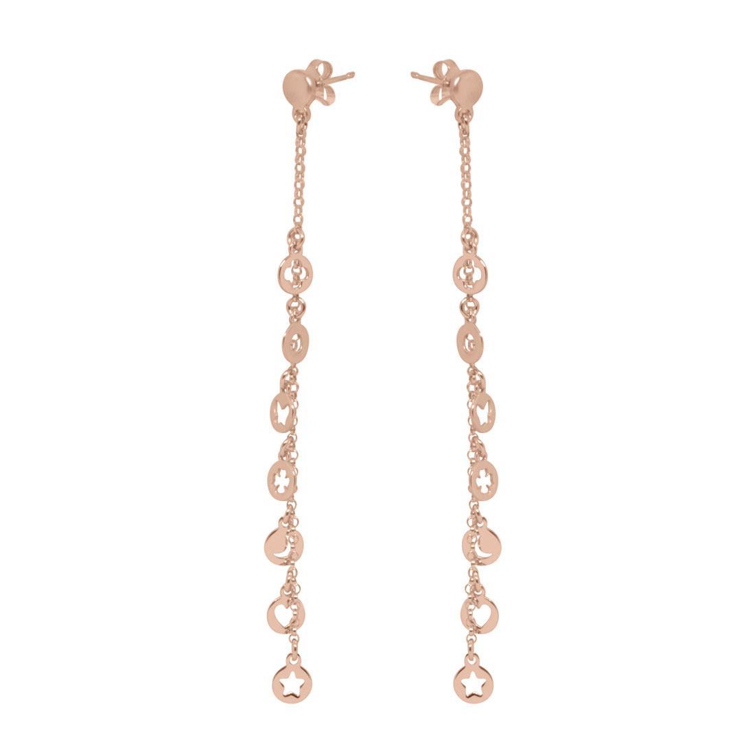 Orecchini pendenti in argento rosato - ORO&CO 925