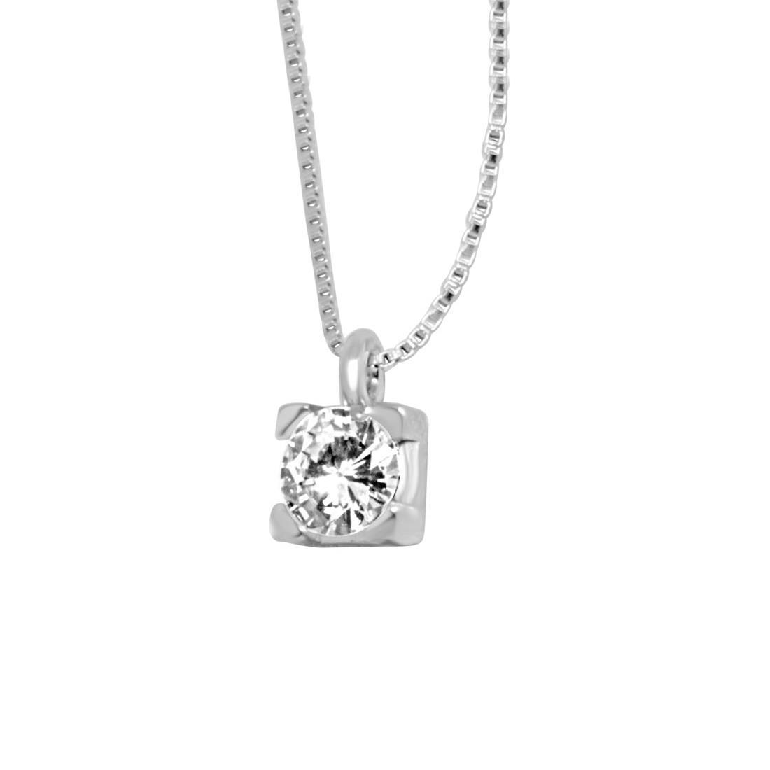 Collier Oro& co in oro bianco con diamanti ct 0,30 colore H, purezza VS2 lunghezza 42 cm - ORO&CO