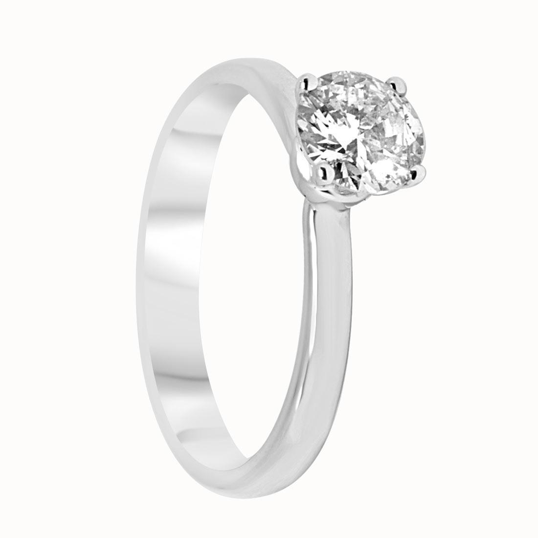 Anello Solitario Oro & Co in oro bianco con diamanti ct 0,76 MIS 14 - ORO&CO