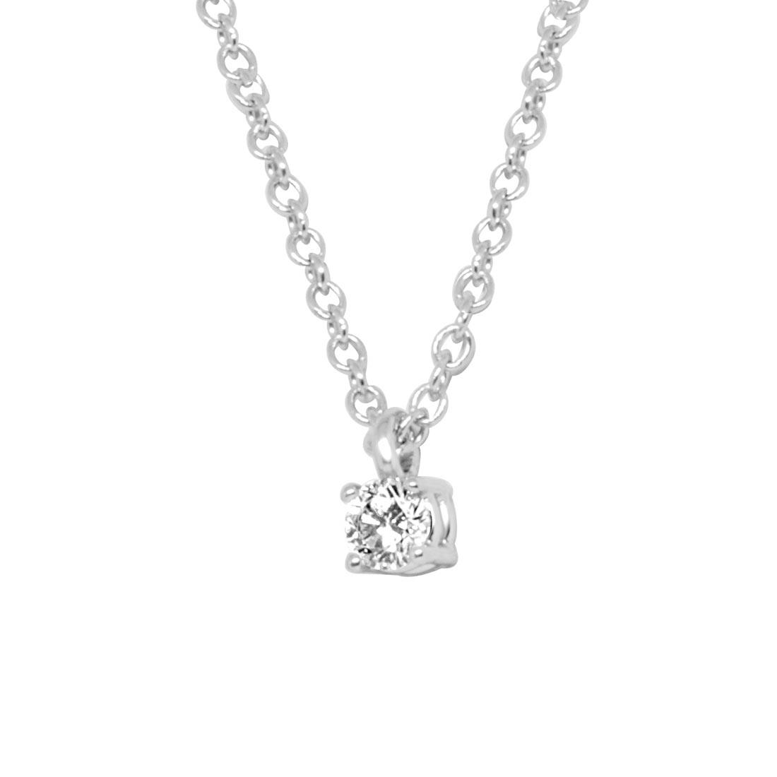 Collier in oro bianco con diamante 0.16 ct - ALFIERI ST JOHN