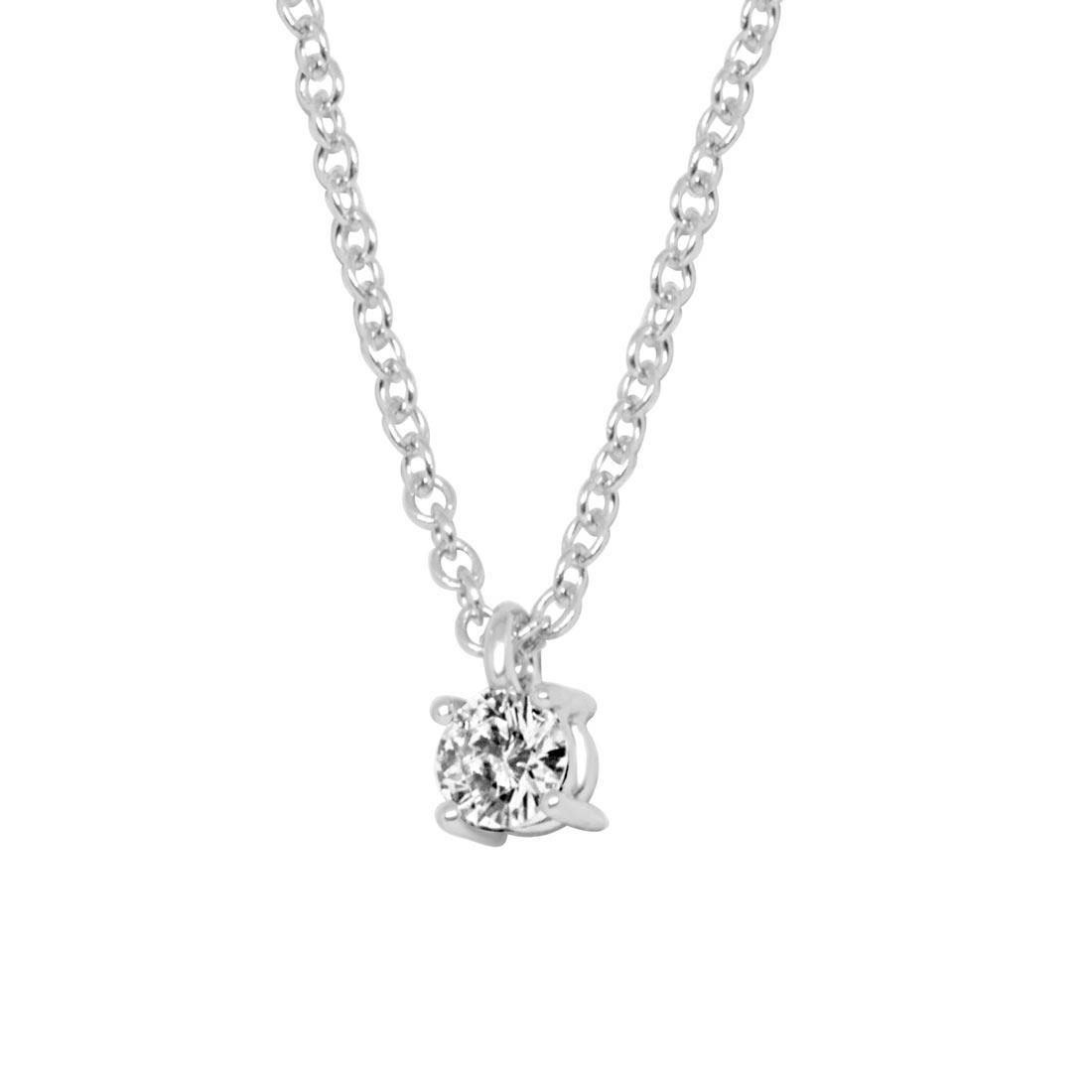 Collier in oro bianco con diamante 0.24 ct - ALFIERI & ST. JOHN